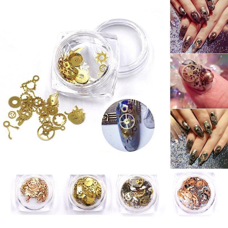 Buy New Nail art Metal Glitters Rhinestones Decoration Gold Machinery Gear Manicure - intl Singapore