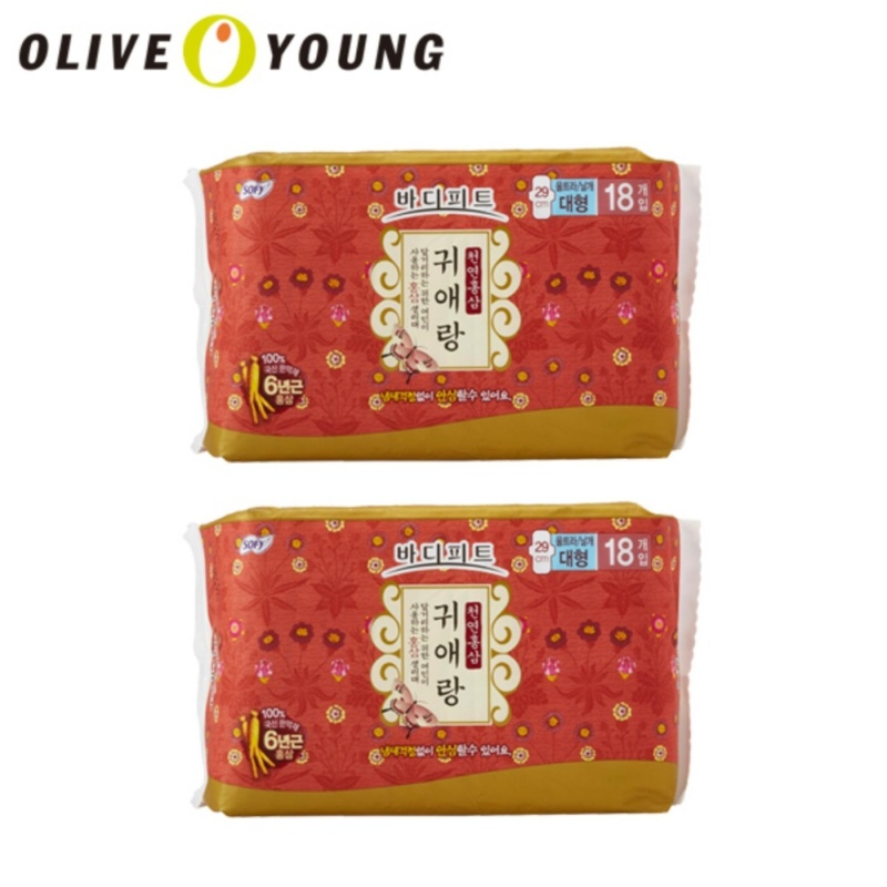 Buy OLIVEYOUNG Sofy Gweeaerang Ginseng Sanitary Pad Max (18p) * 2packs Singapore