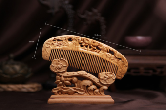 Peach blessed carved natural mahogany comb carved woodenanti-static anti-hair loss No. Comb gift comb blessing evil