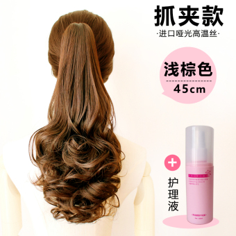Harga Ponytail wig Ms. Long hair big wave realistic long short paragraph wig piece gripper strap Pear