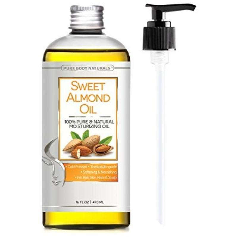 Buy Pure Body Naturals Sweet Almond Oil, Cold-Pressed, 16 Fluid Ounce Singapore