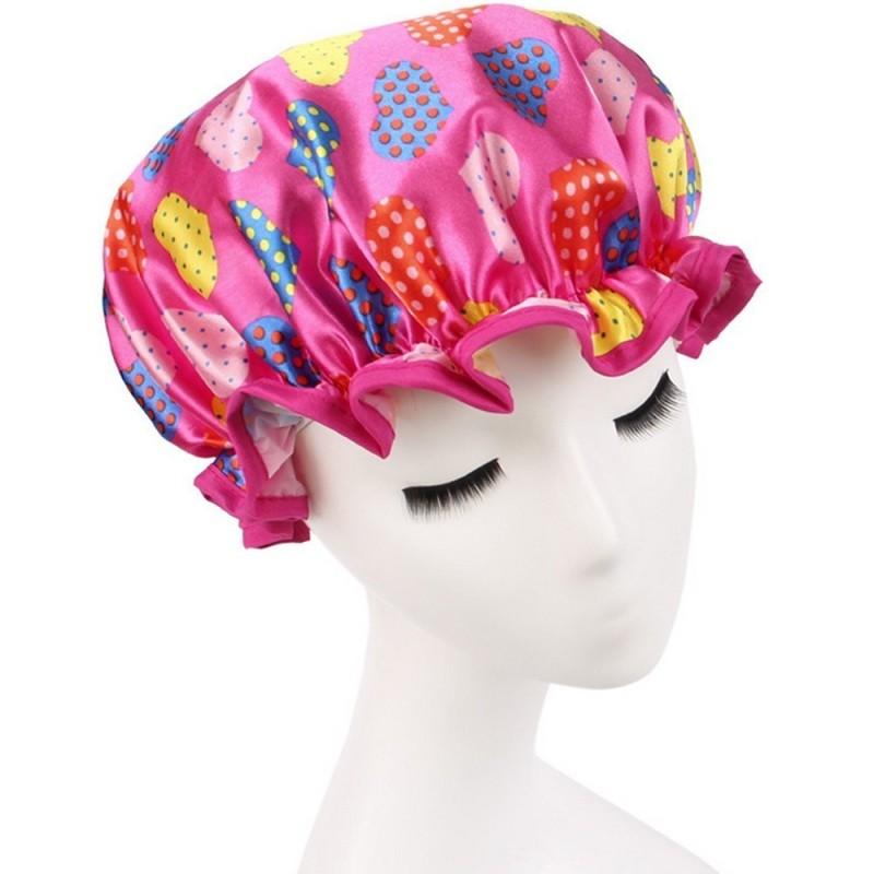 Buy Satin Red Love Heart Printing Waterproof Double Layers Elastic Band Hair Bath Cap Shower Hat (Intl) - Intl Singapore