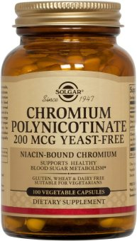 Solgar Chromium Polynicotinate 200 mcg (Yeast-Free) 100 VegetableCapsules