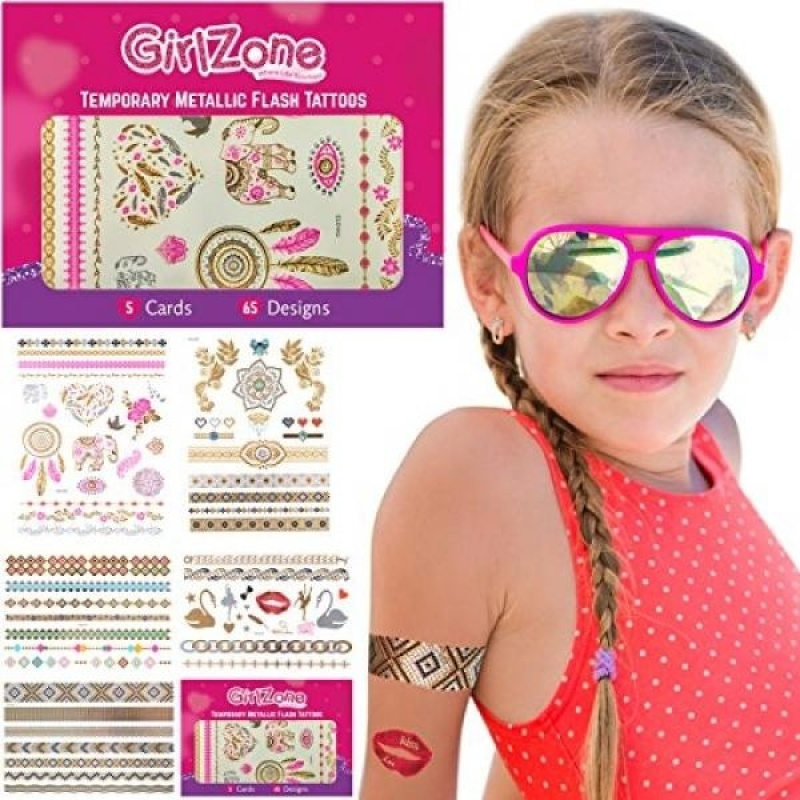 Buy TEMPORARY FLASH METALLIC TATTOOS - 5 Card Pack - 65 Designs - Metallic Tattoos for Girls, Teens & Young Adults. Makes A Great Birthday Gifts For All Ages. - intl Singapore