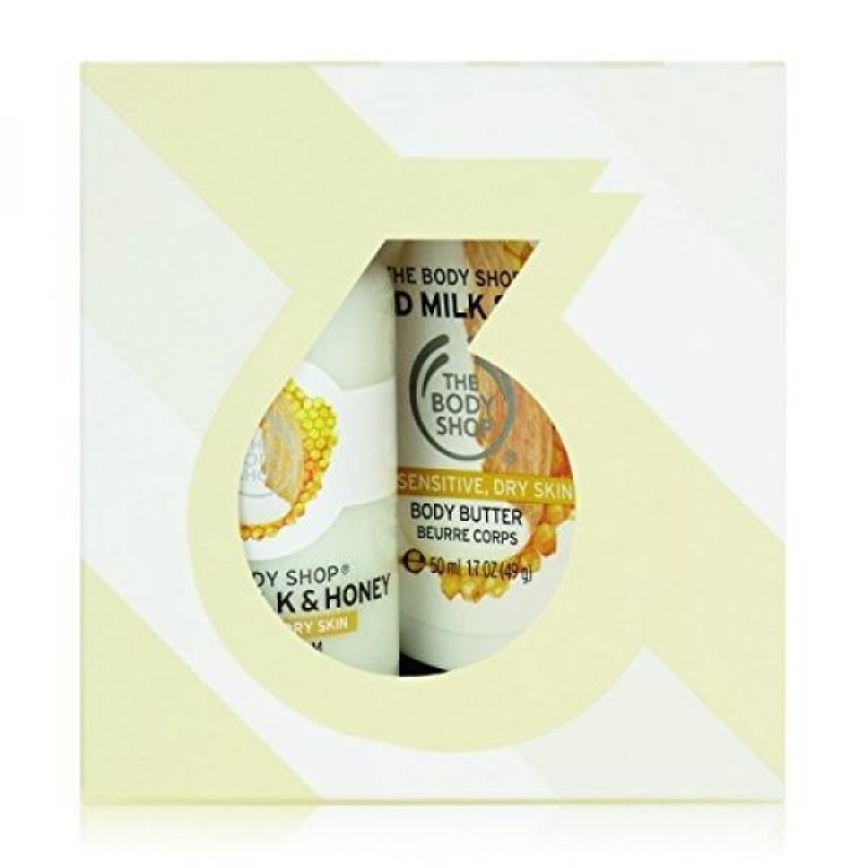 Buy The Body Shop Almond Milk and Honey Treats Cube Gift Set, 3pc Paraben-Free Bath and Body Gift Set, Dermatologically Tested for Dry, Sensitive Skin - intl Singapore