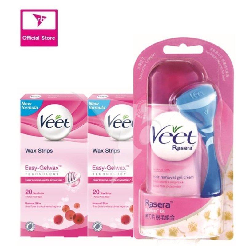 Buy Veet Rasera Gel Cream 150G & 2x Wax Strip 20's For Normal Skin Singapore