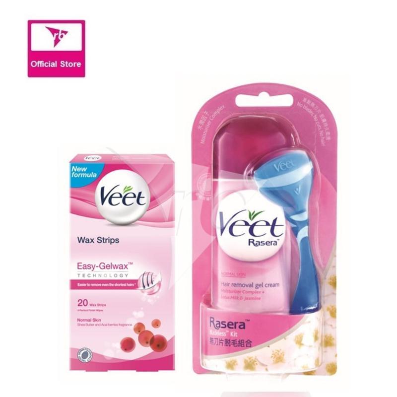 Buy Veet Rasera Gel Cream 150G & Wax Strip 20's For Normal Skin Singapore