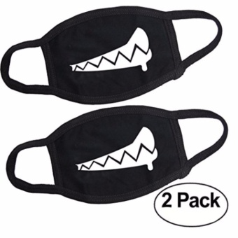 Veras Teeth Black Cotton Face Mouth Mask teen adult 2pcs kpop - intl