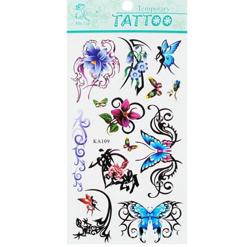 Buy Waterproof Temporary Tattoo Flower Butterfly 2pc - intl Singapore