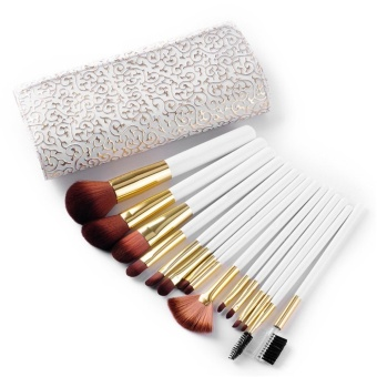 Weimei Synthetic Kabuki Makeup Brushes Set Professional 15 Pcs with Premium Pouch - White - intl