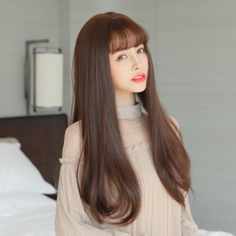 Harga Wig female long hair air bangs big wave simulation scalp microvolume in the long straight hair wig fluffy natural