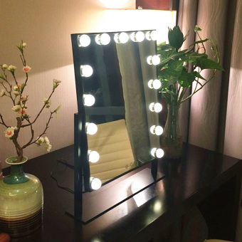 Square Vanity Mirror With Lights. With bulb makeup mirror LED light vanity large square beauty  simple folding desktop For Sale Make Up Vanity Illuminated Desktop Makeup Stand Mirror
