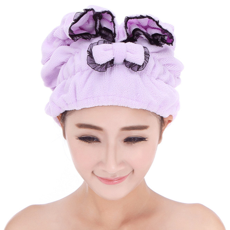 Buy Women Ladies Girls Microfiber Elastic Band Soft Water Absorbent Shower Hair Drying Cap Hat with Bow and Lace Purple (Intl) - Intl Singapore