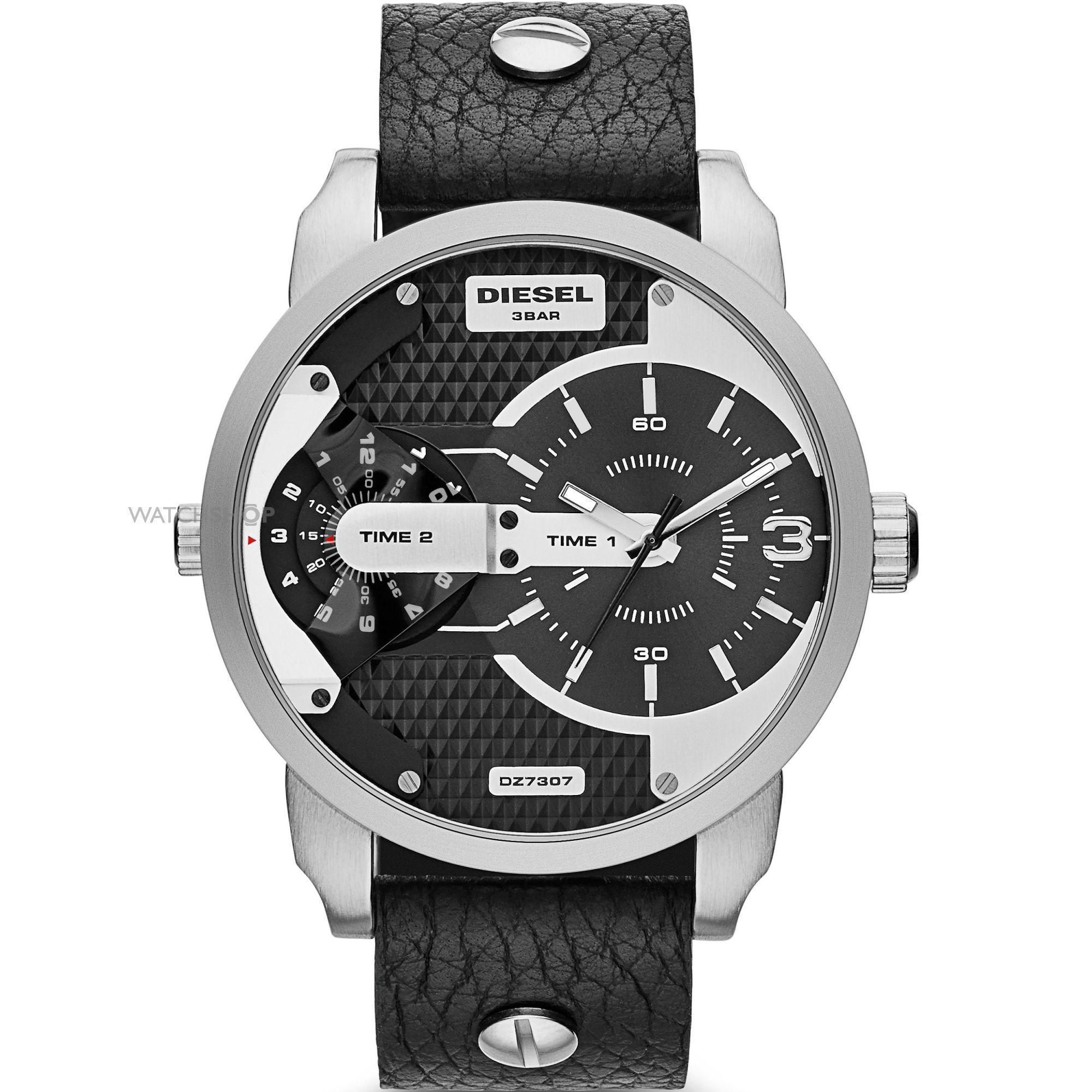 ประจวบคีรีขันธ์ Diesel_Men Mini Daddy Black dial Case width 46mm Case depth 11mm Black leather strap DZ7307