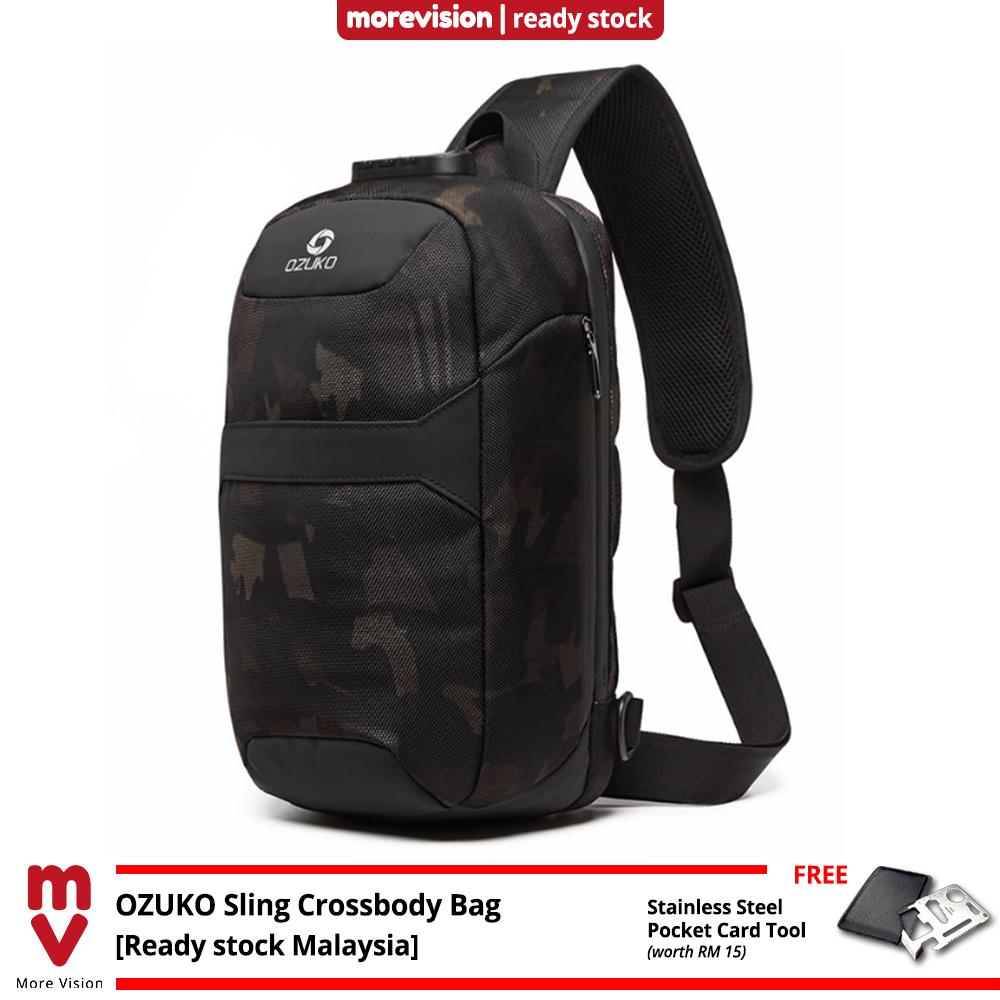 OZUKO Sling Crossbody Bag Comfortable USB Multi-Card Slots New Multifunction Casual Chest Bag Shoulder Beg Waterproof MI6084