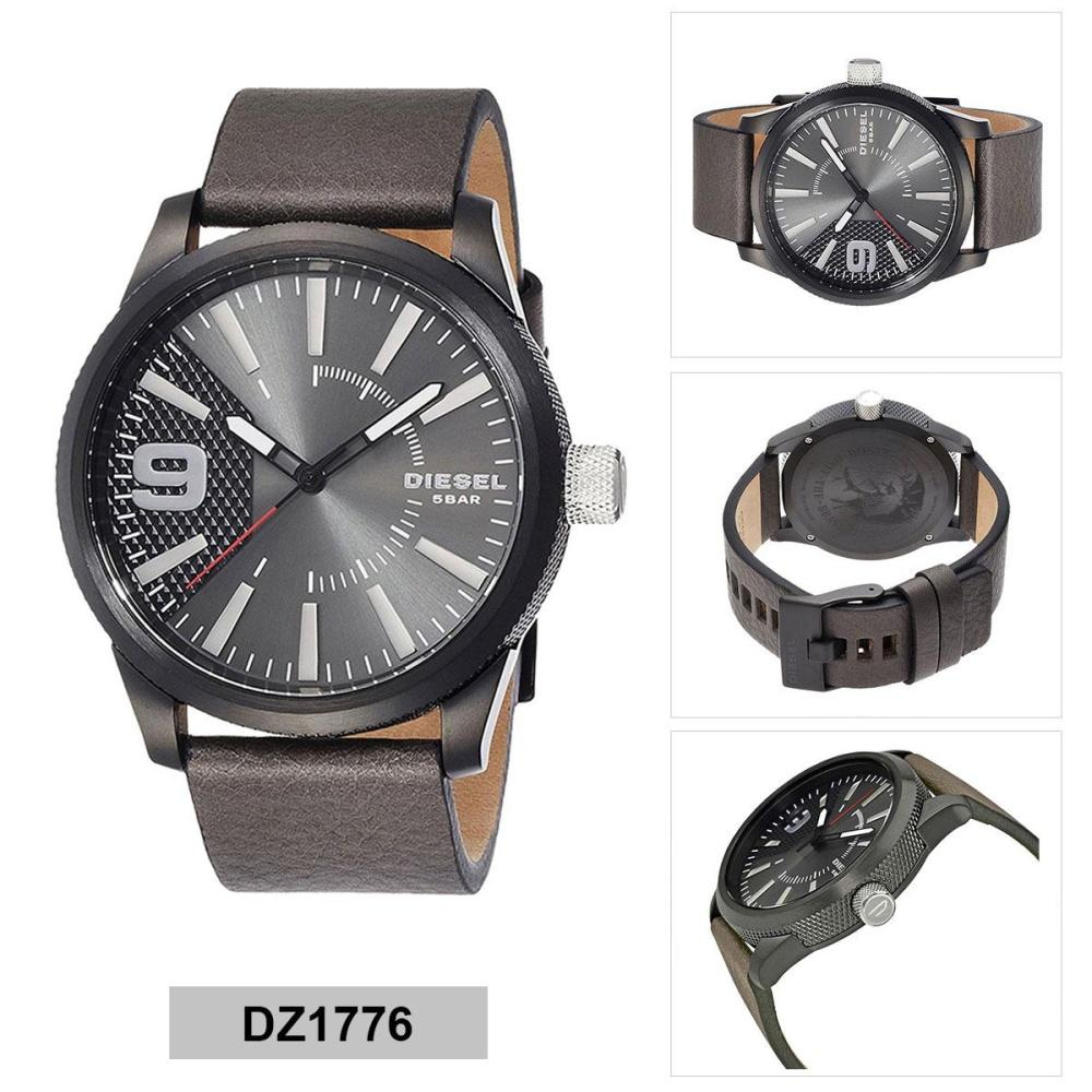 ยี่ห้อนี้ดีไหม  นครปฐม Authentic Diesel Rasp Grey Stainless-Steel Case Leather Strap Mens DZ1776 2 Years Warranty