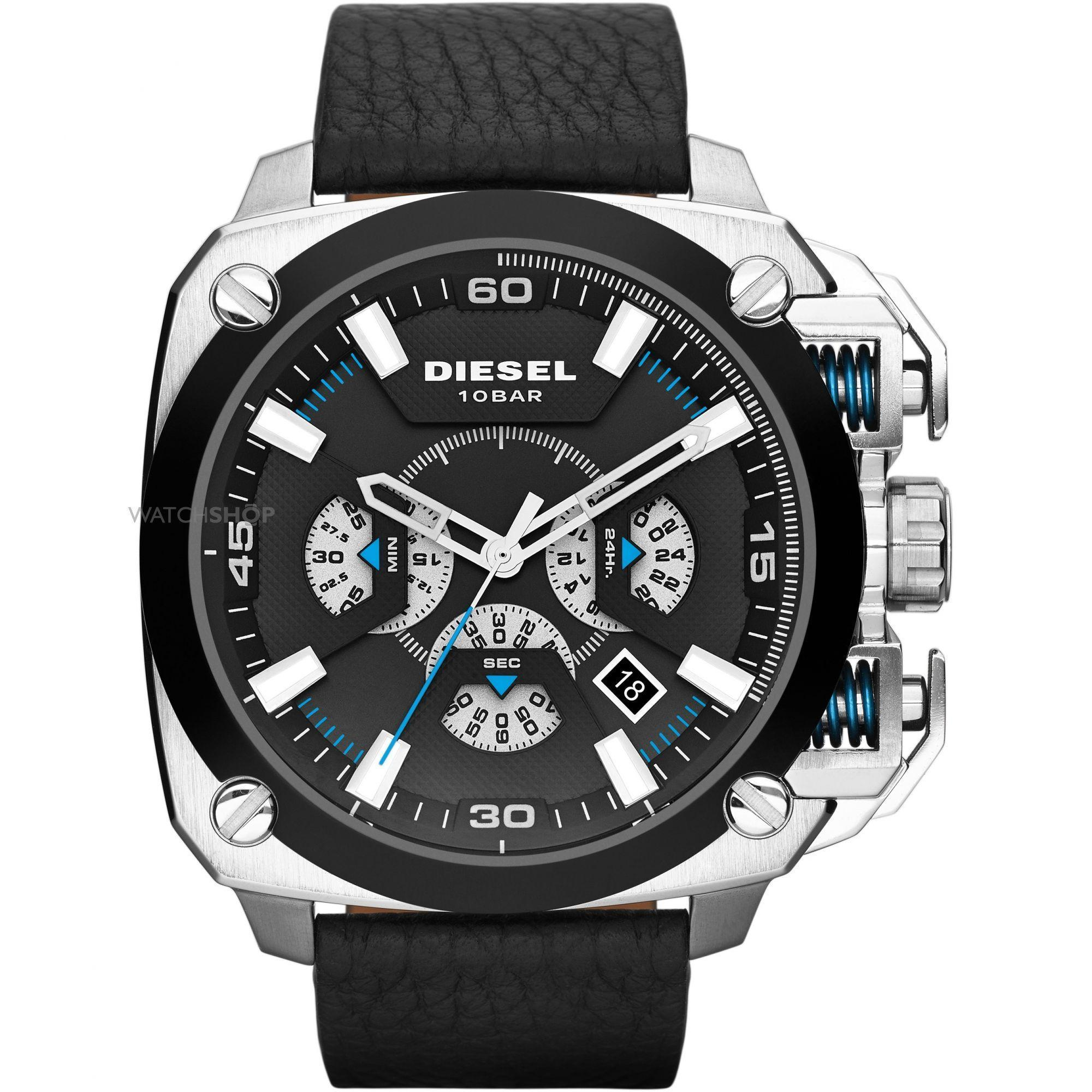 จันทบุรี Diesel_BAMF Men 57.5mm Black Dial Black Leather Strap Chronograph Quartz Watch DZ7345
