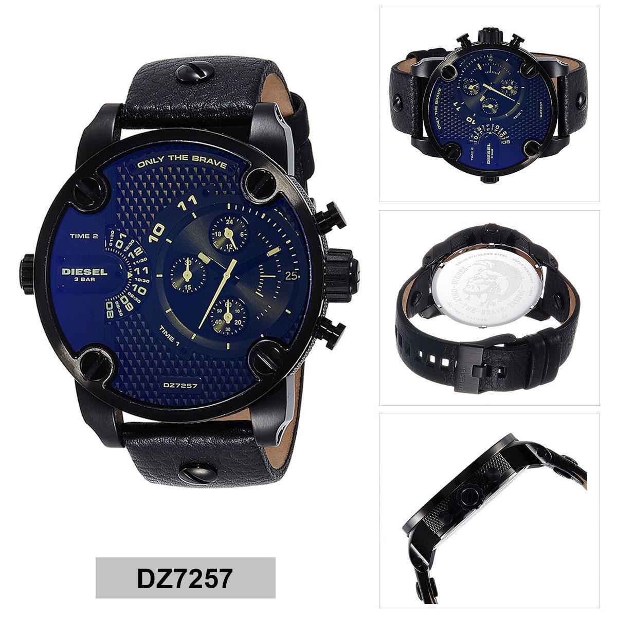การใช้งาน  มหาสารคาม Authentic Diesel Black Stainless-Steel Case Leather Strap Mens DZ7257 2 Years Warranty