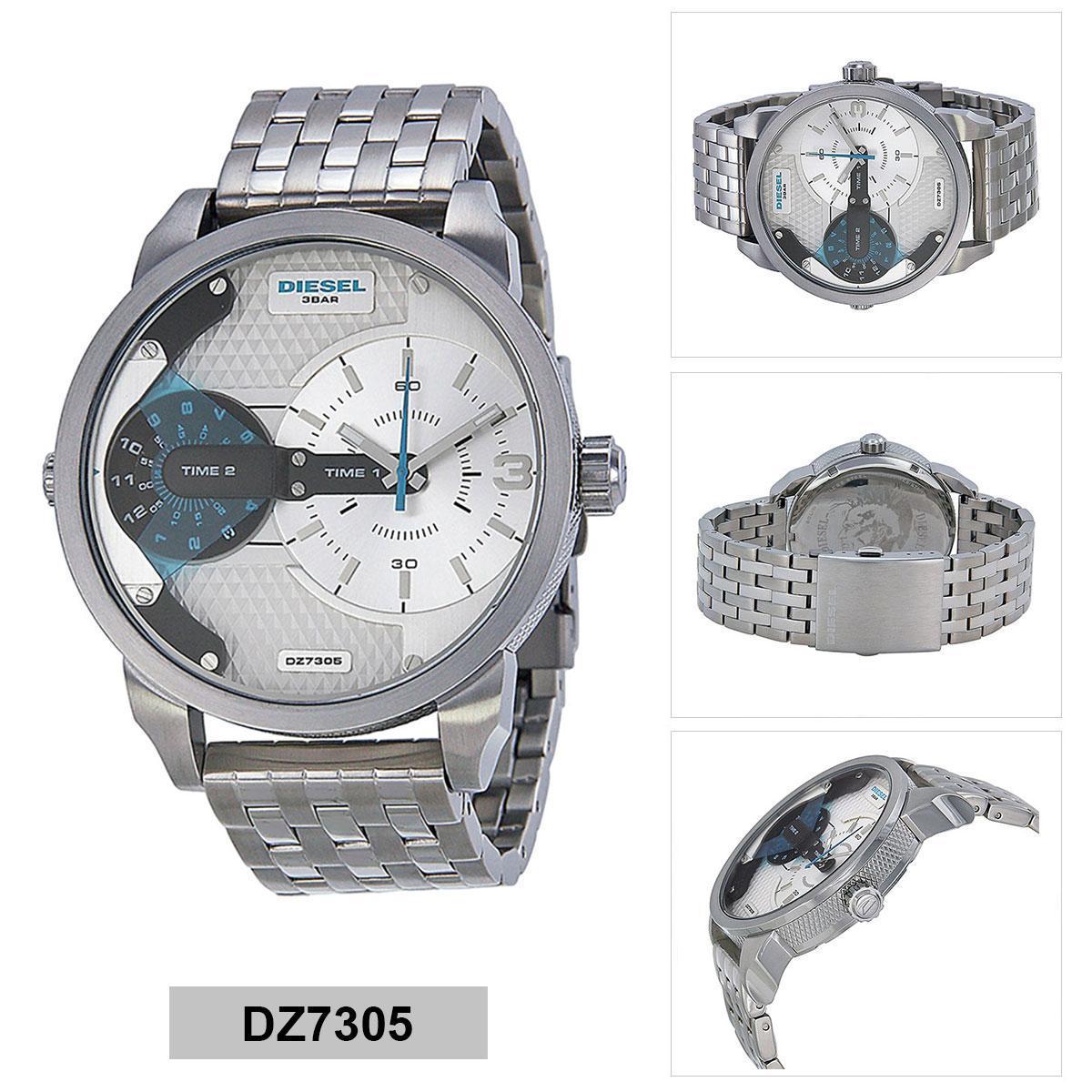 ยี่ห้อนี้ดีไหม  สุราษฎร์ธานี Authentic Diesel Silver Stainless-Steel Case Stainless-Steel Bracelet Mens DZ7305 2 Years Warranty