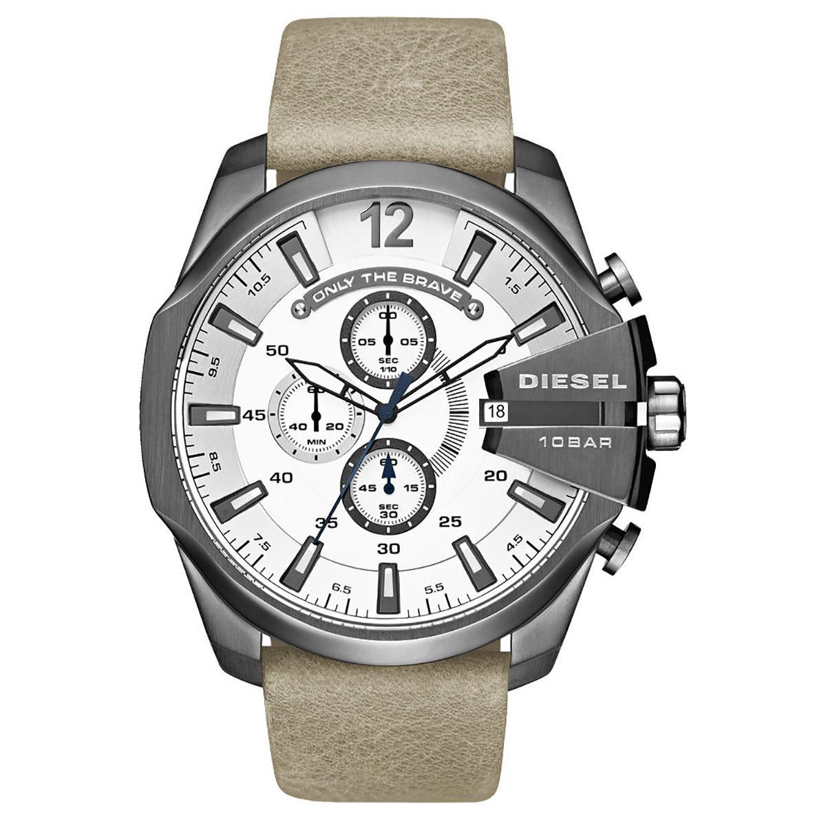 ยี่ห้อไหนดี  อุบลราชธานี Authentic Diesel Beige Stainless-Steel Case Leather Strap Mens DZ4359 2 Years Warranty