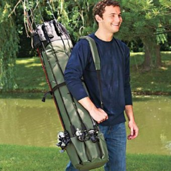 Harga Waterproof Fishing Rod Reel Organizer Bag Travel Carry Case Bag Holds 5 Poles Tackle - intl
