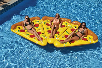 Harga 180*150cm Giant Inflatable Pizza Slice Float Swimming Circle - intl