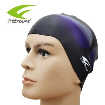 Harga Color pure silicone swimming cap waterproof swim cap swimming cap increase shall loose unisex swimming cap