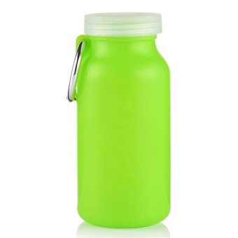 Harga Folding water bottle silicone sports silicon portable 4 colors 660ML food grade Space Volume keyring (green)