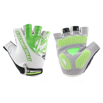Harga New Breathable Cycling Bike Bicycle Sports GEL Pad Half Finger Gloves Green L