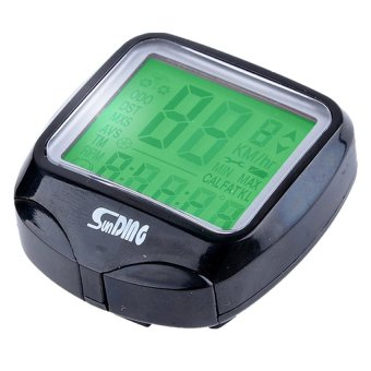 UJS LCD Cycling Bike Bicycle Cycle Computer Odometer Speedometer Waterproof LED Backlight (Black)(Export)