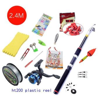 Harga Accessories Portable Carbon Rod Combo Sea Fishing Rods and Reels Ocean Saltwater Fishing Baitcasting Telescopic Carp Tuna Set (2.4M) - intl