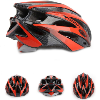 Harga LoveSport MOON MV29 Adult Bicycle Outdoor Cycling Helmet with Snap-on Visor Use Road Mountain Size M (Red+Black Dots)