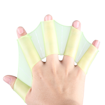 Harga Silicone Green Swimming Fins Swim Webbed Gloves Hand Flippers Paddle Size M