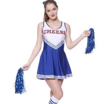 Harga Sexy Cheerleader School Girl Fancy Dress Sport Uniform Top+Skirt Costume Pom Pom Blue - intl
