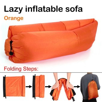 Harga Fast Inflatable Chair Lounger Air Sleep Camping Sofa Beanbag Beach Nylon Fabric Lounge Lazy Sleeping Bag Bed Outdoor (Orange)