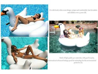 Harga Leegoal Lovely White Swan Design Inflatable Pool Floats Swim Ring For Kids And Adults, White (S)