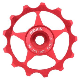 Aluminium Road Bicycle Pulley Wheel Bering Guide Roller Pulley (red,13T) - intl