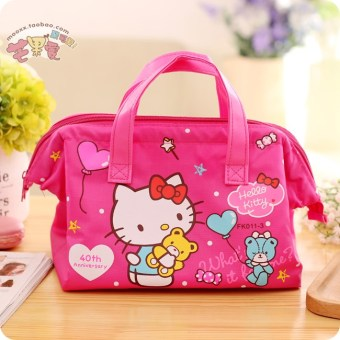 Harga Hello kitty large size work portable insulation bag lunch bag lunch box cartoon lunch bag meal package
