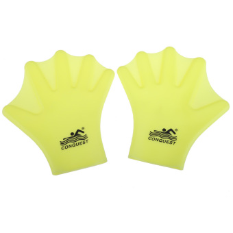 Harga Swimming Webbed Gloves Adult Frog Finger Fin Hand Wear Silicon Yellow