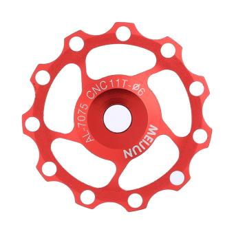 Aluminium Road Bicycle Pulley Wheel Bering Guide Roller Pulley (red,11T) - intl
