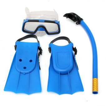 Harga YJS Kids Diving Mask Snorkel&Amp; Glasses&Amp;Fins Set Siliconeswimming Pool Equipment Gift Blue - intl