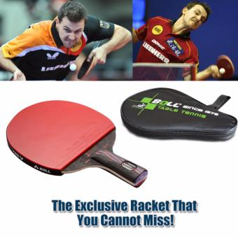 Harga 1x Brand Quality Carbon Fiber Table Tennis Racket Blade with Double Face Racket Rubber Bat Boll NANO-V with Bag Table Tennis Bat - intl