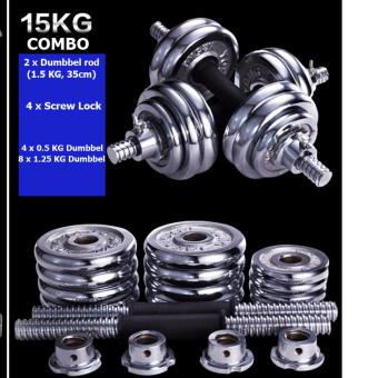 Chrome dumbbell combo /no bad smell/Good quality / Two combo of weight options (15 KG)