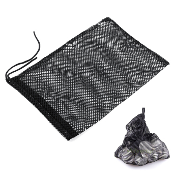 Harga Nylon Mesh Nets Bag Golf Tennis 48 Balls Holder Hold Ball Storage Closure (Black)
