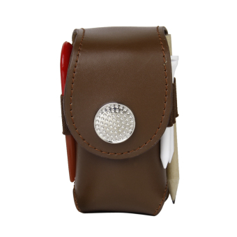 Harga Mini Portable Leather Clip On Golf Ball Holder Pouch Bag Hold 2 Balls Golfer Aid Tool Gift Brown