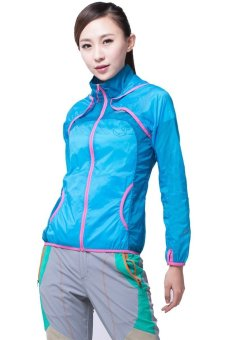 Harga Makino Women's Outdoor Waterproof Light Weight UV-Proof Jacket Thin Windbreaker Skin Hooded Jacket 3128-2 Sky Blue/Deep Blue