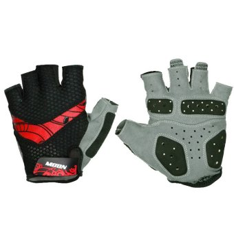 Harga LoveSport Moon HB-13 Sports Racing Cycling Bike Bicycle Gel Half Finger V type Stripes Gloves Size M (Red)