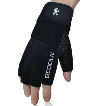 Boodun Men Women Genuine Leather Gloves Weight Lifting Gym (Silver)M - intl