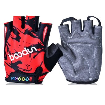 boodun Child Kids Sport Cycling Fitness GYM Half Finger Gloves (Red) (Export)