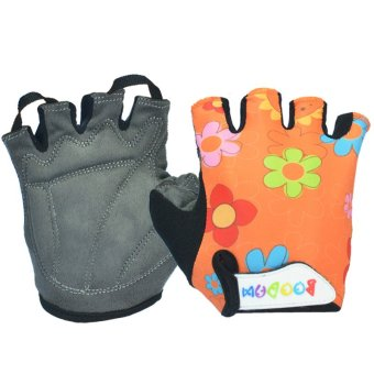 boodun Child Kids Floral Pattern Sport Cycling Fitness GYM Half Finger Gloves Orange (Export)